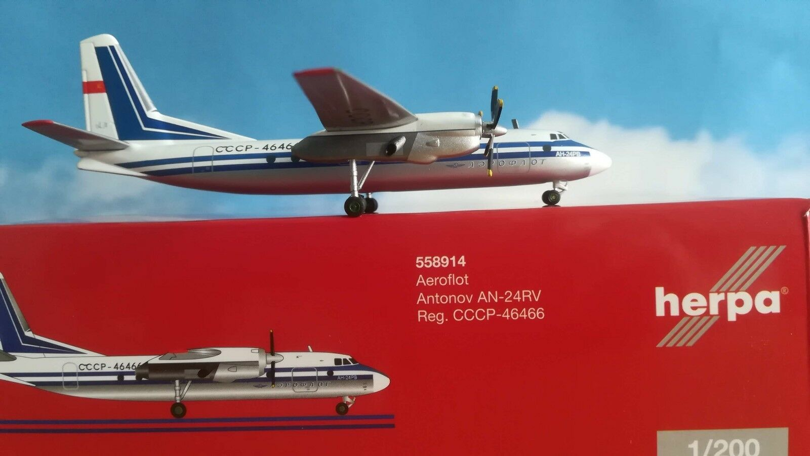 Herpa Wings 1 200 558914 Aeroflot Antonov an-24rv - CCCP - 46466 MODELLO in METALLO