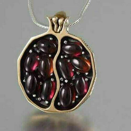 Vintage Gold Filled Pomegranate Garnet Pendant Wedding Necklace Jewelry Gift New