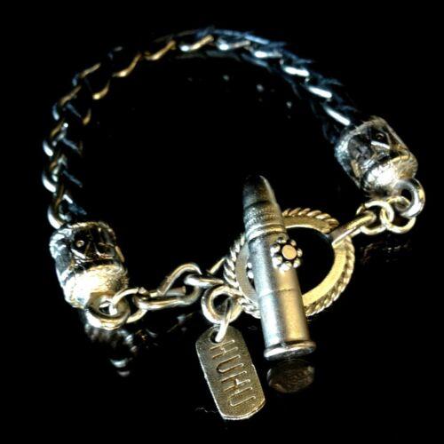 handmade in USA black leather Bullet bracelet