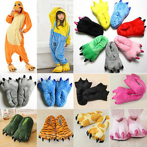 Adults-Kids-Cosplay-Costume-Slippers-Claw-Paw-Shoes-Cartoon-Animal-Indoor-Home