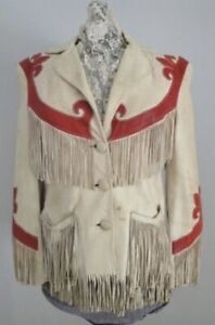 Womens Cowboy Jacket Brown Suede Leather Fringe Native American Western Wear New