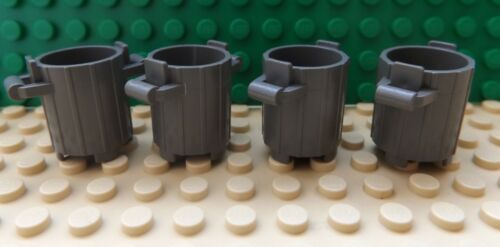 4 LEGO Dust Bin Container Trash Can with Handles Dark Grey 2439 City Town Build