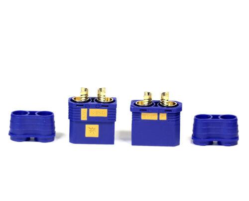 4 Paar Hochstrom EC8 EC8S QS8S QS8 Antiblitz Goldstecker Stecker Buchse Blau RC