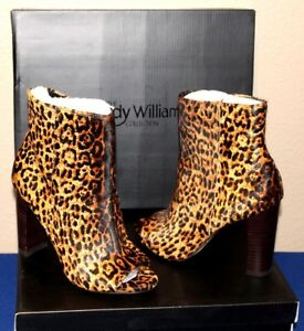 be73263f56a Details about New Pony Hair Leopard Peep Toe Booties By Wendy Williams,  Size 7M, 3.5