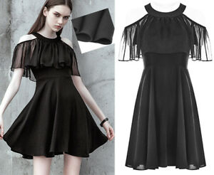 Evening Elegante nuda Ruffles Skater Dress spalla nera Punkrave Lolita Gothic vcqZpp