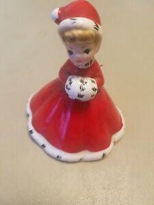 Vintage-Antique-Josef-Originals-Christmas-Bell-Girl-in-Red-Dress