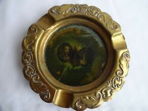 VINTAGE-ART-DECO-BRASS-ASHTRAY-1937-DIAMETER-13-cm