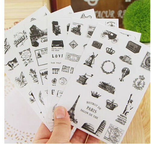 6 sheets vintage stamp decoration books stationery notebook diary PVC stickers
