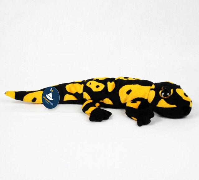 Stofftier Salamander schwarz-gelb, Molch, Lurch, Echse, Plüschtier (L. ca. 38cm)
