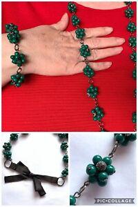 Bracelet Necklace Set Dark Green Bead Clusters Ceramic Metal Flapper Statement