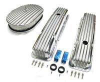 58-86 Chevy Polished Aluminum Finned Valve Covers & 12 X 2 Air Cleaner Kit Sbc