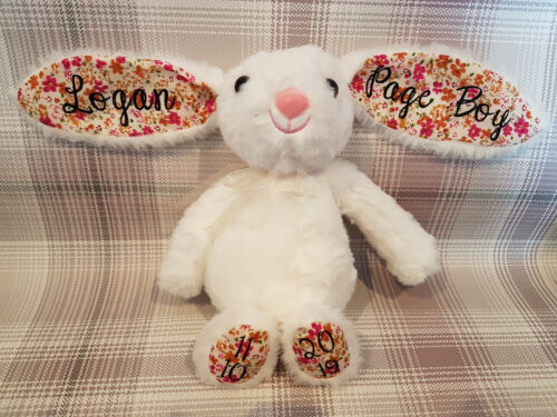 Personalised supersoft Bunny plush toy bridesmaid flower girl Birthday