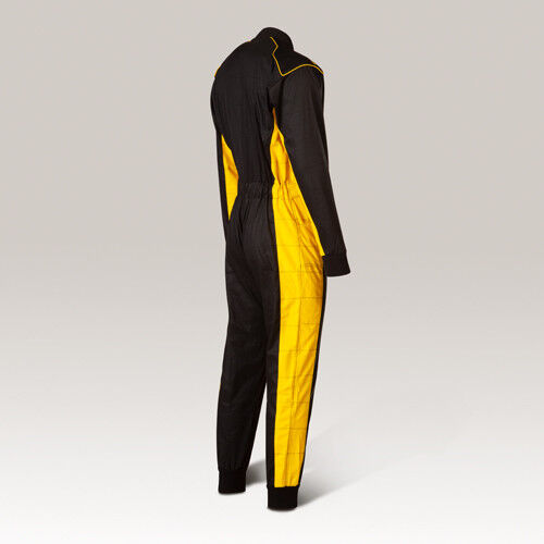 Overalls Black//Yellow Race Car Driver Costume New Size 140-XXL