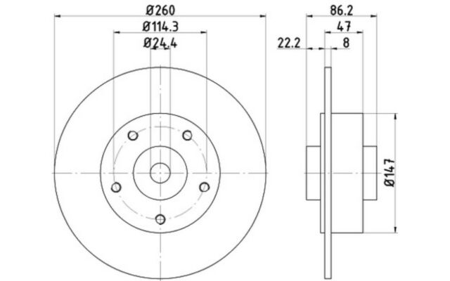 1x TEXTAR Disco de Freno Trasero Pleno 260mm 92196003