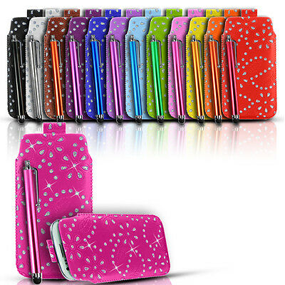 BLING LEATHER PULL TAB CASE COVER POUCH AND STYLUS FIT VARIOUS ALCATEL PHONES