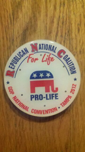2012 Republican National Convention Pro-Life Button Mitt Romney Paul Ryan Tampa
