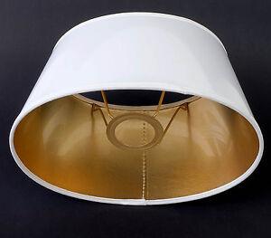 Lampenschirm Elegant Weiss Gold Lack Für Tischlampen E27 Oval