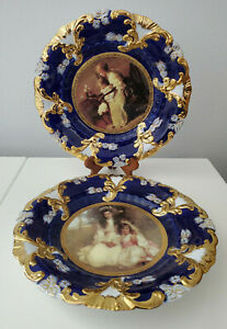 Royal Vienna Cabinet Plates Cobalt Blue set of 2