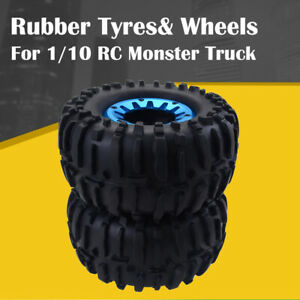 2PCS-1-10-Monster-Truck-Rubber-Tyres-Wheels-for-Traxxas-HSP-Redcat-RC-Car-Blue