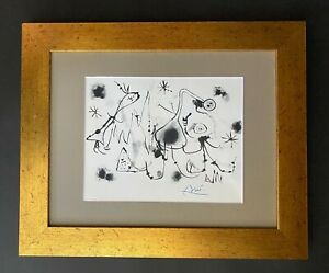 JOAN MIRO 1971 BEAUTIFUL SIGNED PRINT MATTED 11 X 14 + BUY IT NOW!!