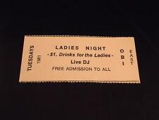 OBI EAST 1981  Free Pass Ticket  OAK BEACH INN  Hampton Bays  music club TUESDAY