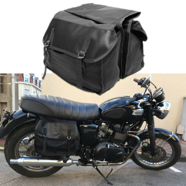 1x Motorcycle Saddle Bag Travel Luggage For Yamaha Honda Cafe Racer Pannier