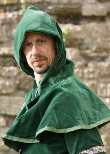 Medieval-Re enactment-Archer-Larp-Cosplay-LONG GREEN VELVET HOOD One Size