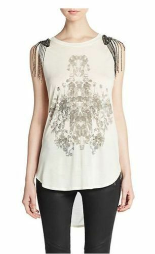 Haute Hippie Sleeveless Embellished  Graphic Tank Blouse  Top  Size XS