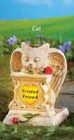 Solar Powered Lighted beloved Friend Angel Cat Memorial Garden Statue