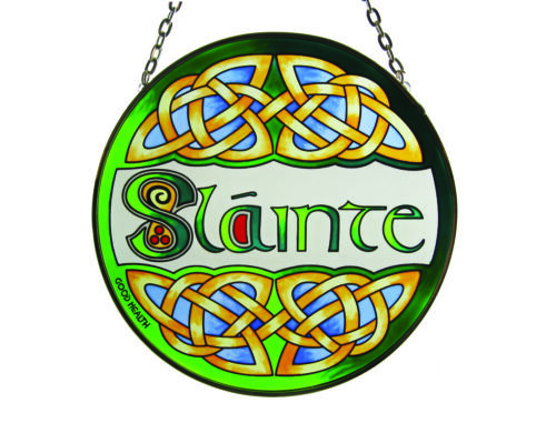 """6/"""" Round Stained Glass Hanging Panel With Slainte Design"""