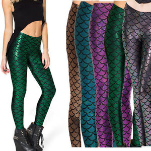 23af6d42725f22 Image is loading Women-Holographic -Mermaid-Fish-Scale-Metallic-Geometric-Stretch-