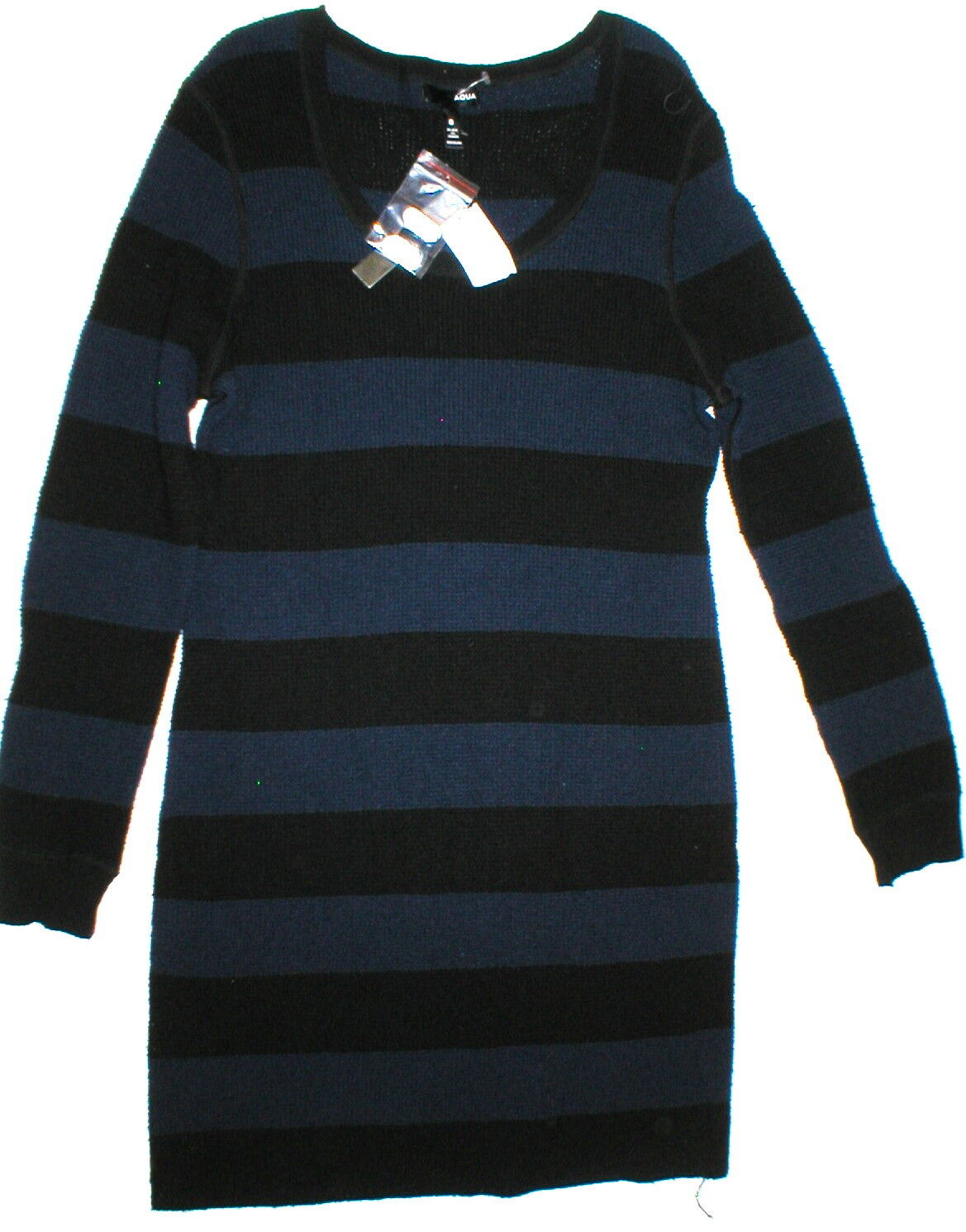 New damen Aqua Wool Cashmere Sweater Dress schwarz Blau M Dark Stripes NWT
