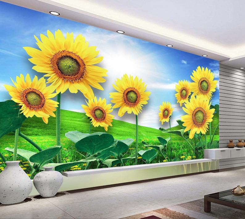 3D Sky Sunflower 899 Wallpaper Mural Paper Wall Print Wallpaper Murals UK Lemon