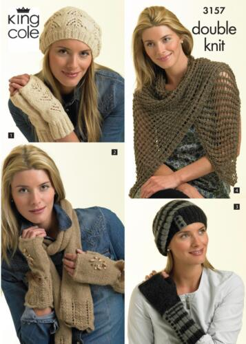 Gloves /& Scarf in King Cole Baby Alpaca DK King Cole 3157 Knitting Pattern Hat