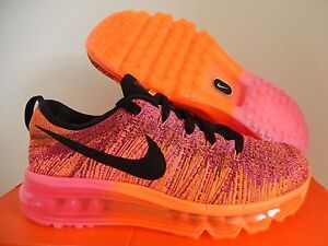 13b2e6471342 WMNS NIKE FLYKNIT MAX TOTAL ORANGE-BLACK-PINK-FIREBERRY SZ 9  620659 ...