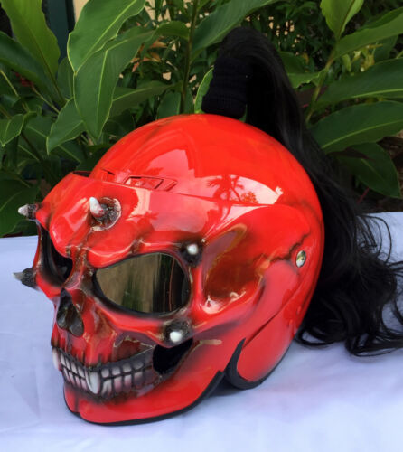 Custom Airbrush Motorcycle Helmet Skull Death Goro Style Mortal Kompat Ponytail