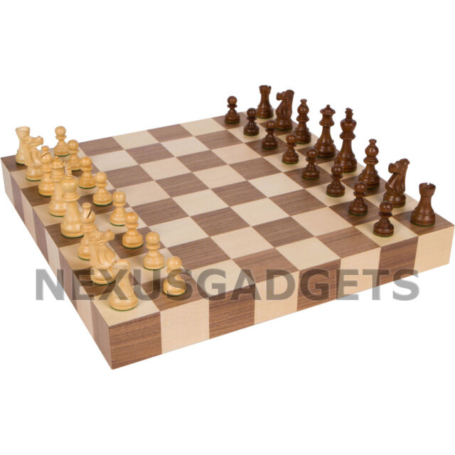 Atam Chess LARGE 18 Inch Game Set Weighted Pieces TOURNAMENT Inlaid Wood Board
