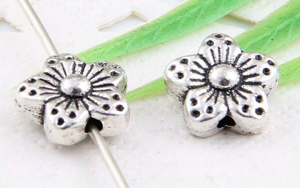 Wholesale 32/76Pcs Tibetan Silver/Gold (Lead-Free) Flower Spacer Beads 9x4.5mm