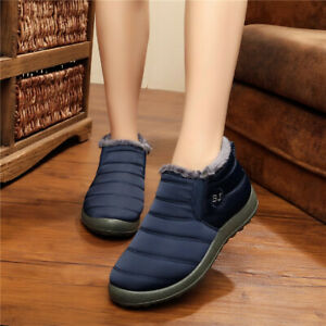 064c5811b57 AU Women Waterproof Winter Flats Warm Ankle Soft Boots Fur Lining ...
