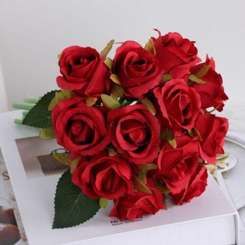 Artificial Flowers Wedding Bouquet Party Decor Home 12 Heads Silk Rose Buch Fake