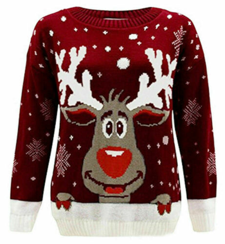 Kids Girls Boys Unisex Xmas Christmas Jumpers Knit 3D LIGHT Fair Isle Novelty