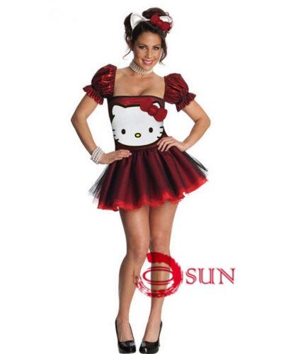 Women Blue Red Hello Kitty KT Costumes Halloween Party Fancy Mini Dress 6-10