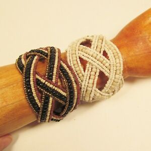 Set-of-2-Beige-Multi-Color-Handmade-Beaded-Braided-Jane-Wide-Cuff-Bali-Bracelet