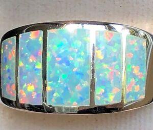 Fiery Labradorite Natural Gemstone Unisex Ring Blue Green Teardrop .925 Sterling Silver Size 9
