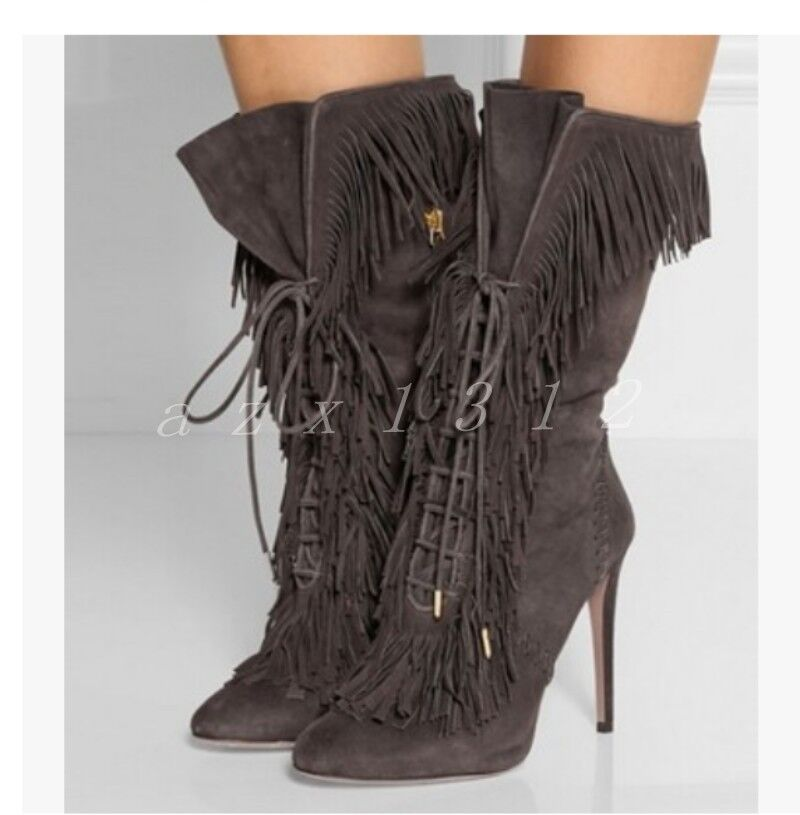 Womens Suede Lace Up Tassel Pointed Toe shoes Ladies Show Party Mid Calf Boots
