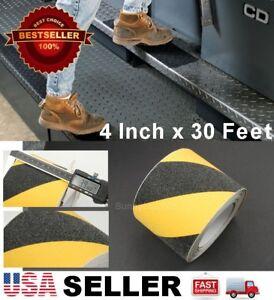 "4"" x 30' Black Yellow Hazard Anti Skid Non-Slip Mineral Abrasive Safety Tape"
