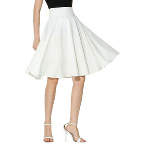 Women A Line Midi Skirt High Waist Knee Length Work Pleated A Line Skater Skirt