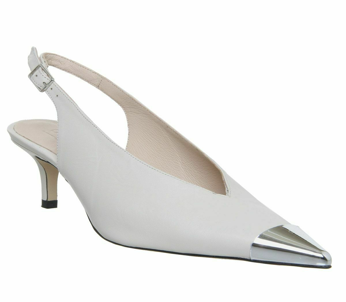 Womens Office Melodramatic Metal Toe Slingback Heels Off White Leather Heels