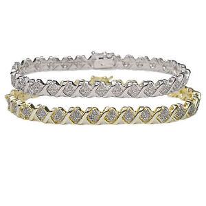 Diamond-Bracelet-1-Ct-Tennis-Tdw-Hugs-amp-Kisses-Heart-Love-Xo-Silver-Gold-Gift