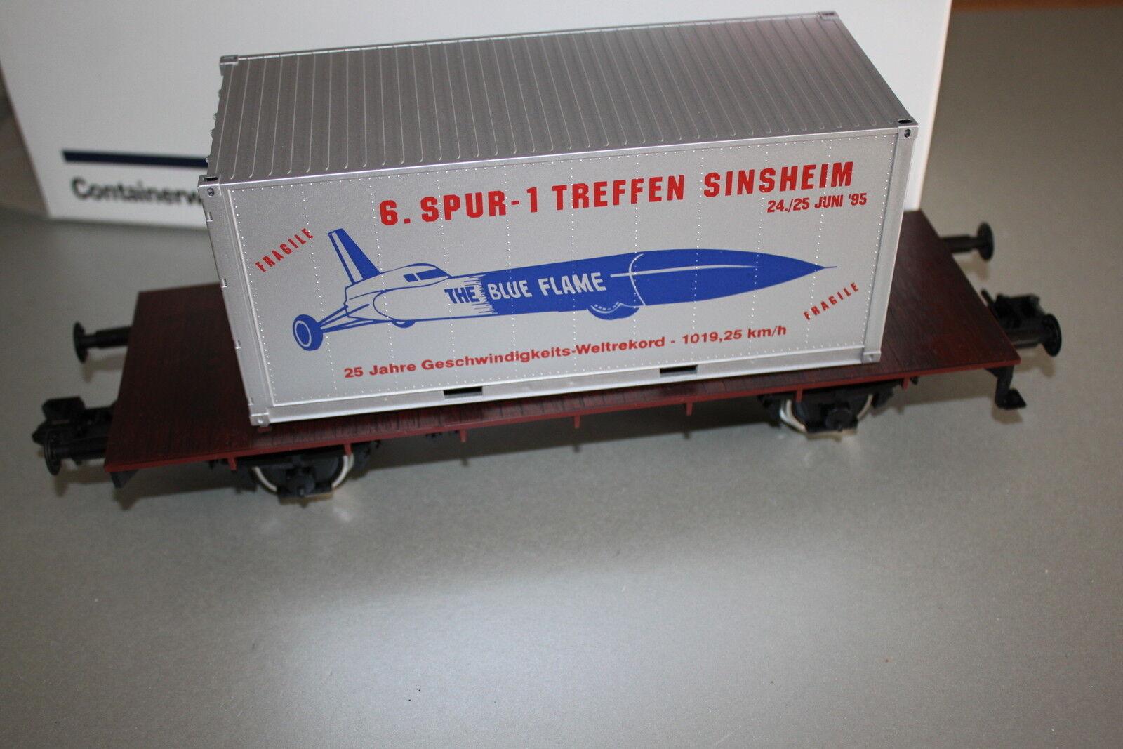 2-Camion Container Carrello  blu Flame  Sinsheim 1995 traccia 1 OVP